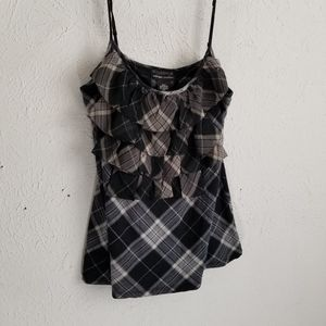 New York & Co sz L black & white plaid camisole